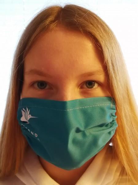 Stoffmaske mit Verlagslogo